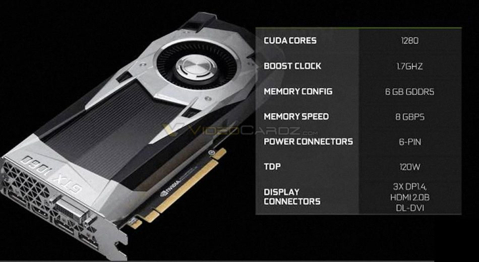 GTX 1060 Founders Edition será de PCB reducida y no tendrá puente de SLI