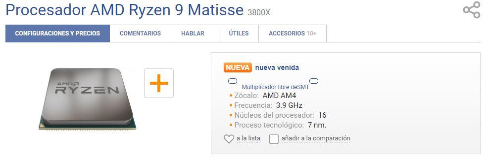 Se lista el nuevo AMD Ryzen 9 3800X con 16 núcleos