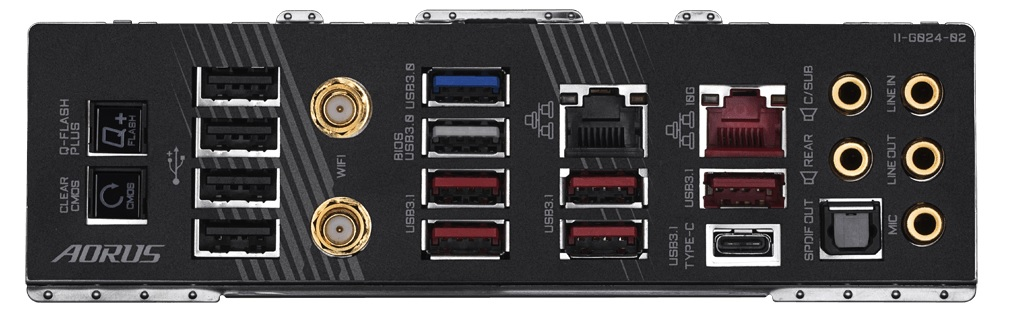 Gigabyte X570 Aorus Xtreme Panel I/O