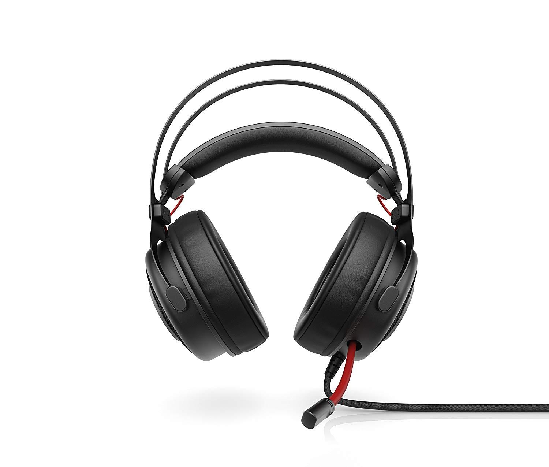 HP Omen 800 - Auriculares para Gaming con micrófono (PC/Juegos, binaurale, Diadema, alámbrico, circumaural), Color Negro y Rojo