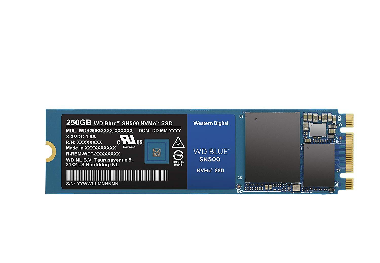 Western Digital WD Blue SN500 SSD NVMe, M.2, Velocidad de Lectura de hasta 1700 MB/s, 250 GB