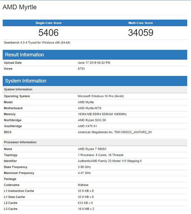 Ryzen 7 3800X - Geekbench
