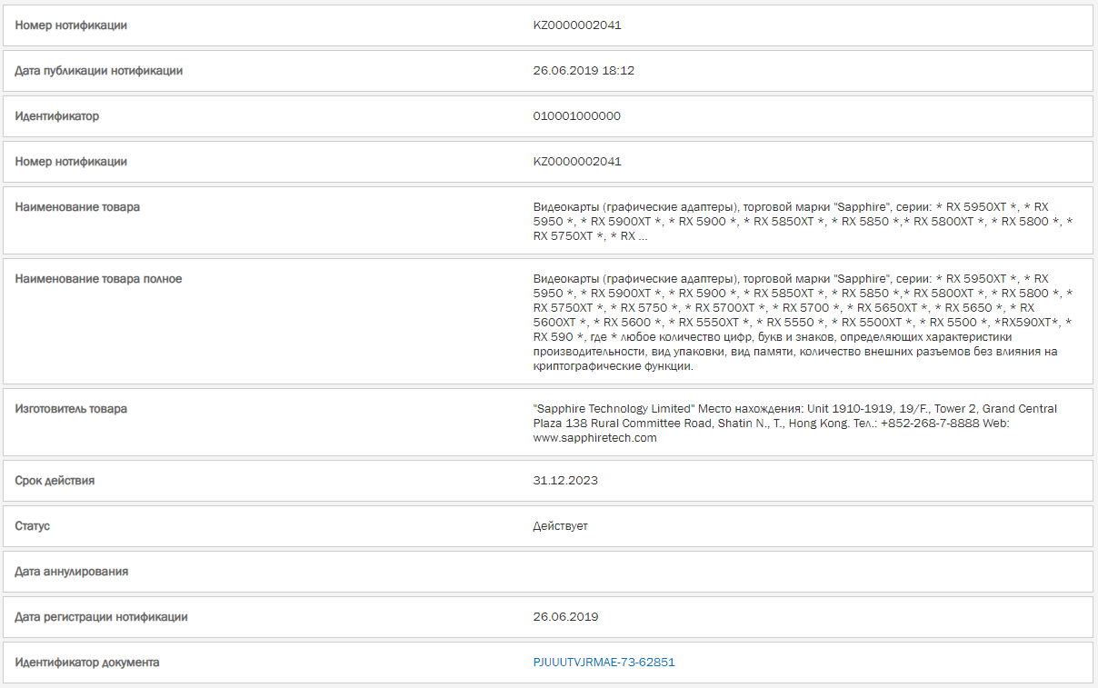 Resgitro AMD RX 5950 XT