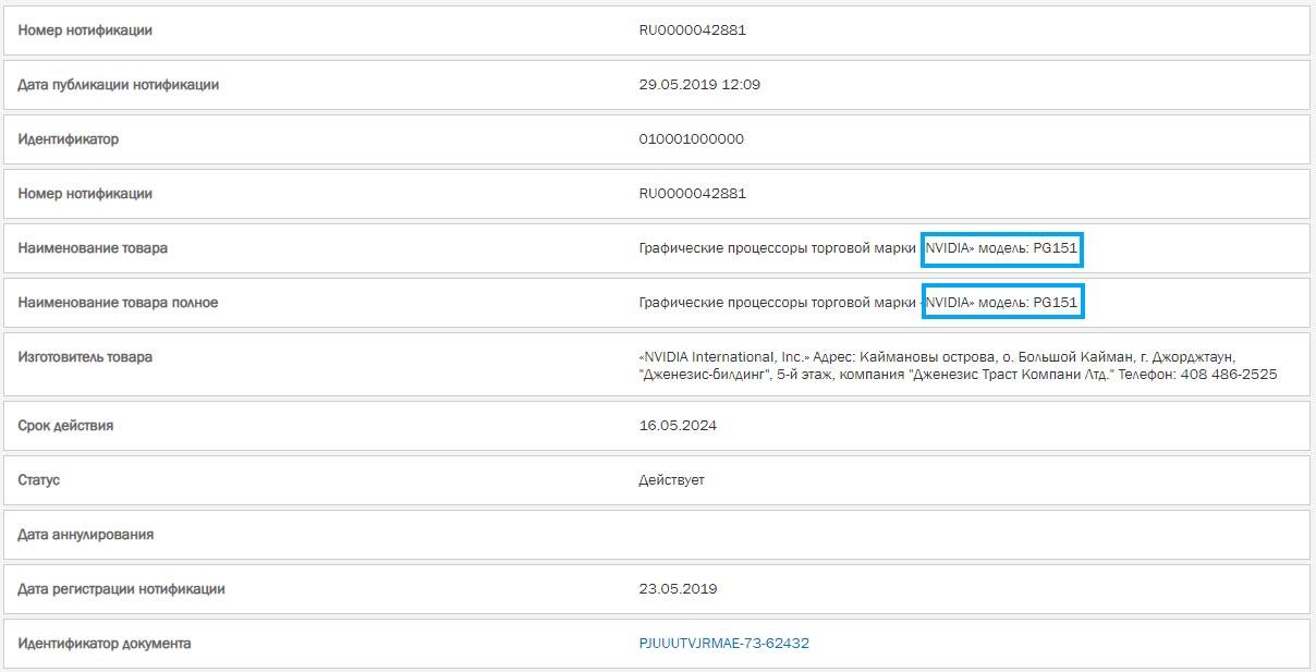 Registro NVIDIA PG151
