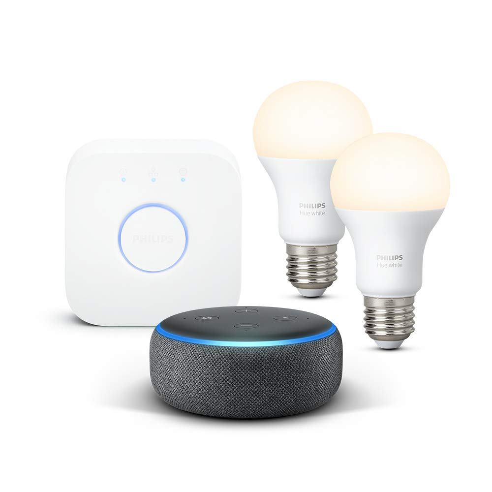 Echo Dot (3.ª generación), tela de color antracita + Philips Hue White Kit - Kit de 2 bombillas LED E27 y puente