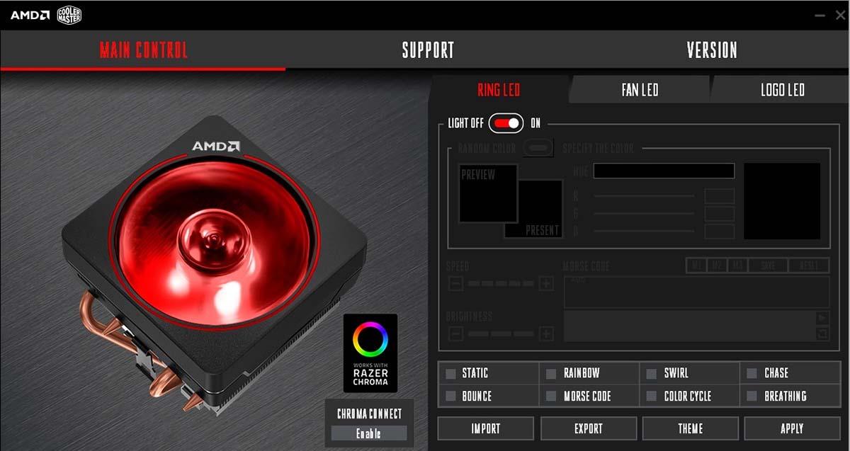 Ventilador con iluminación RGB Chroma — AMD Wraith Prism